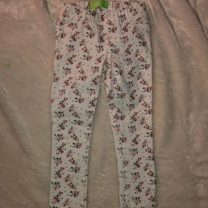 White Jeggings with Floral Print